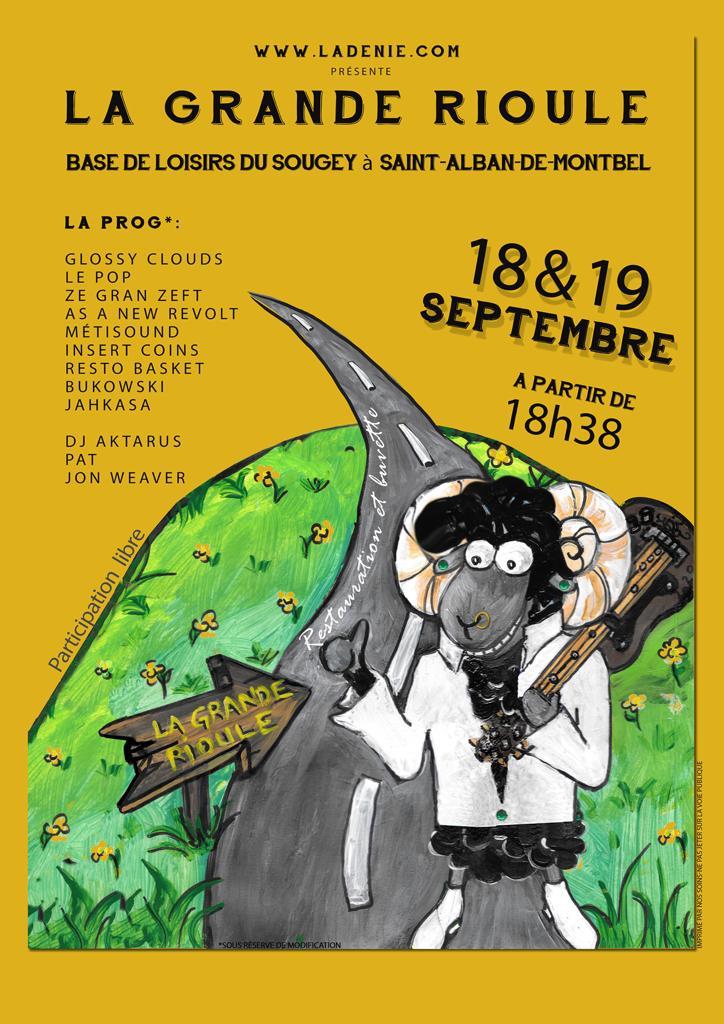 Affiche Festival La Grande Rioule, 18 et 19 septembre 2020 au Lac d'Aiguebelette, le Sougey, Saint-Alban-de-Montbel- Savoie